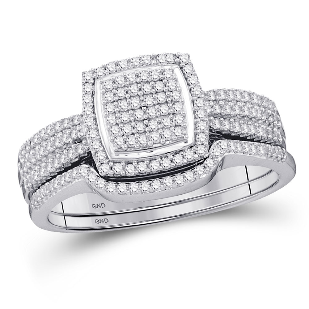 0.49 CTW Diamond Square Cluster Bridal Engagement Ring 10KT White Gold - REF-48H7M