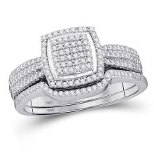 Lot 4031: 0.49 CTW Diamond Square Cluster Bridal Engagement Ring 10KT White Gold - REF-48H7M