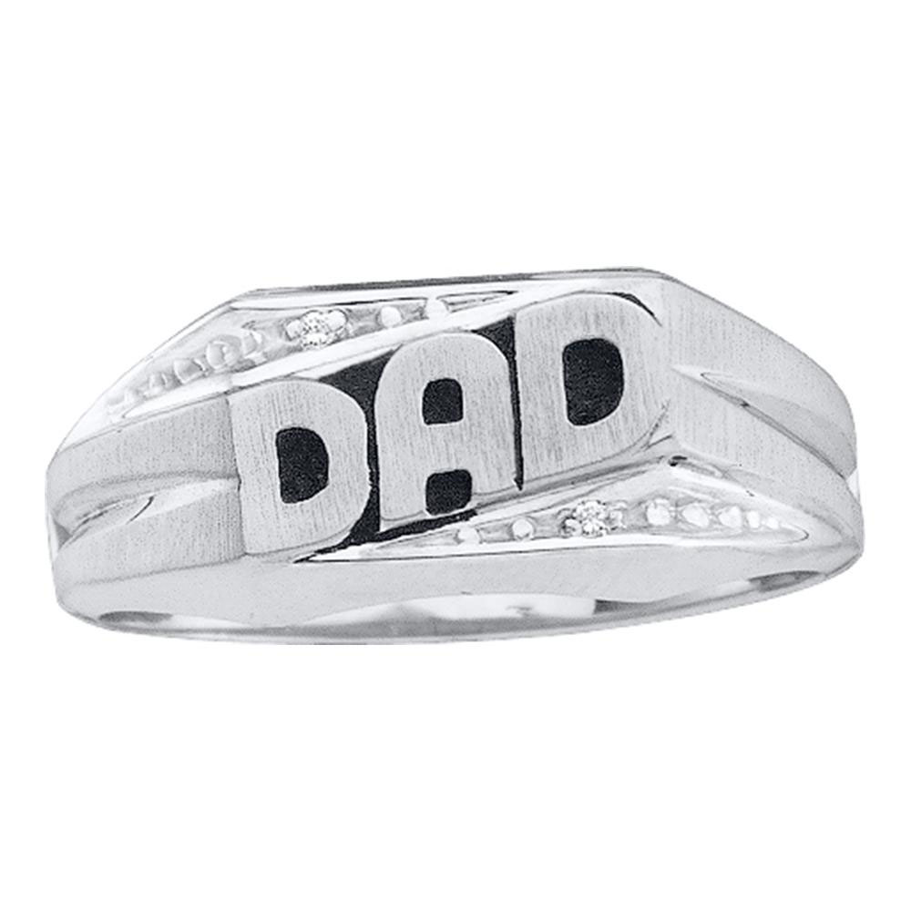 0.01 CTW Mens Diamond Dad Ring 14KT White Gold - REF-22X4Y