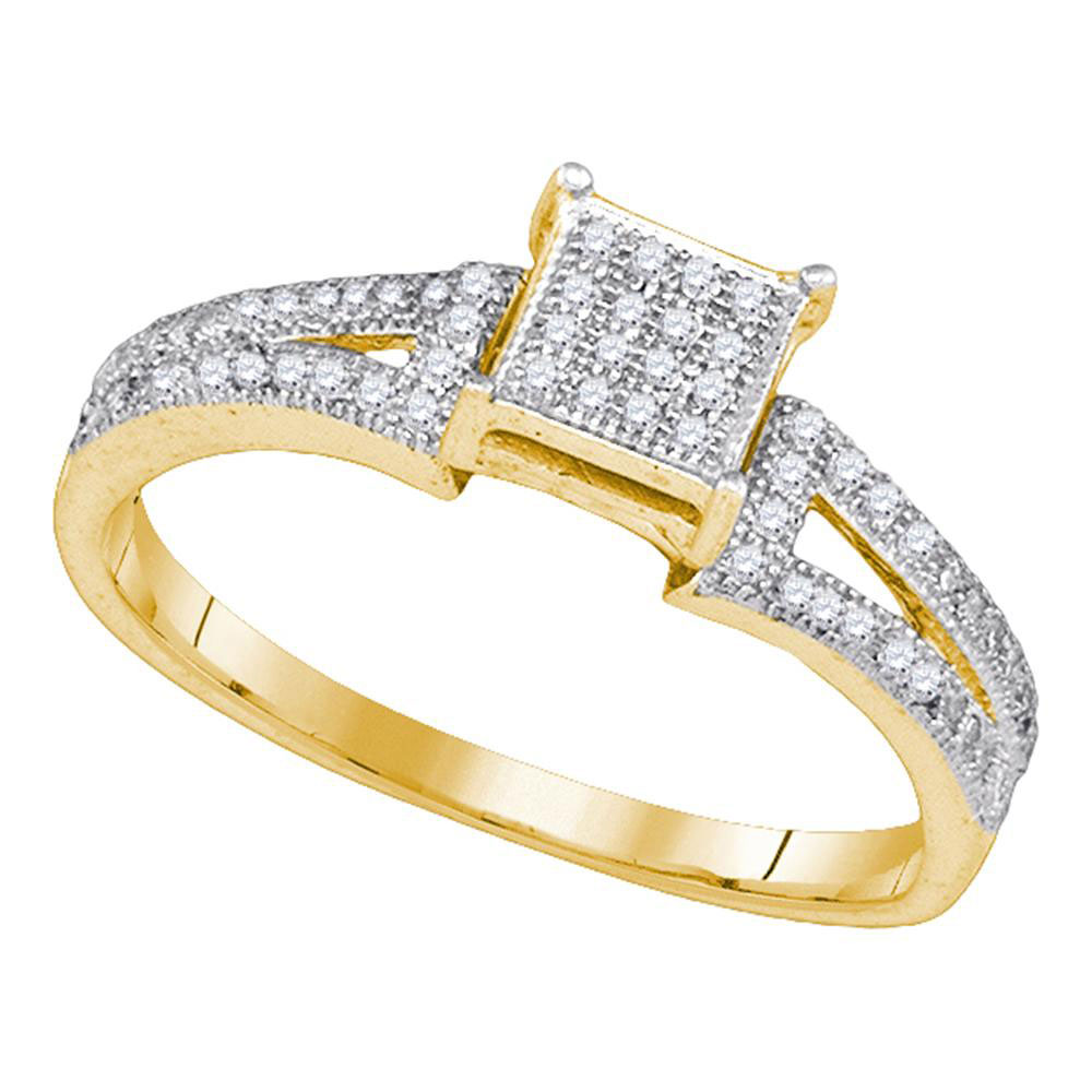 0.15 CTW Diamond Square Cluster Bridal Wedding Engagement Ring 10KT Yellow Gold - REF-16N4F