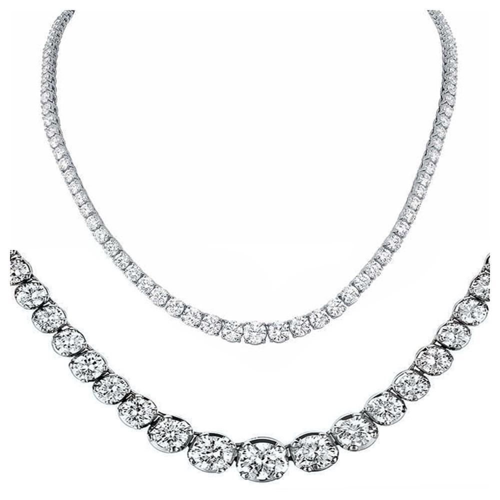 Natural 14.19CTW VS2/I-J Diamond Tennis Necklace 14K White Gold - REF-1346R8K