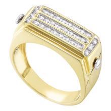 Lot 4050: 0.26 CTW Mens Diamond Cluster Ring 10KT Yellow Gold - REF-33W7K