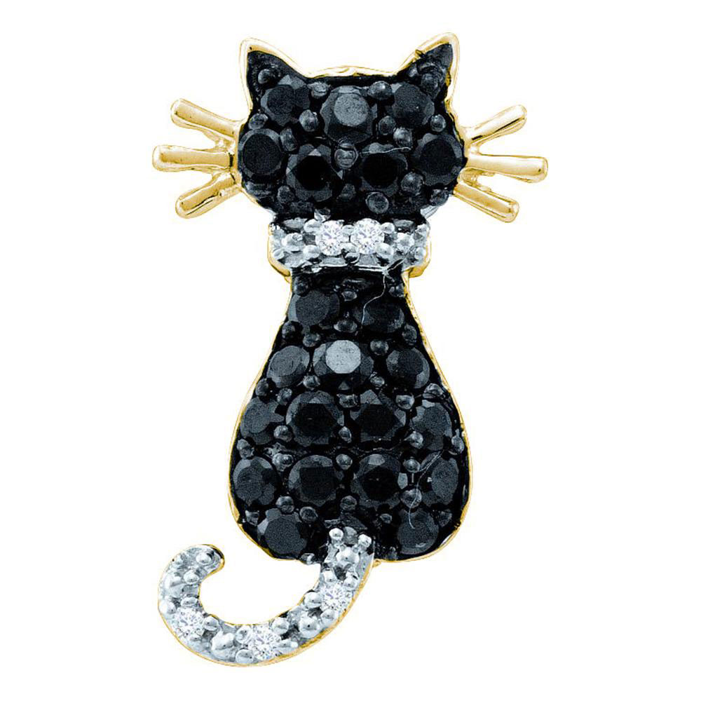 Lot 4053: 0.33 CTW Black Color Diamond Kitty Cat Pendant 14KT Yellow Gold - REF-14N9F
