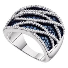 Lot 4056: 1.34 CTW Blue Color Diamond Fashion Ring 10KT White Gold - REF-87Y2X