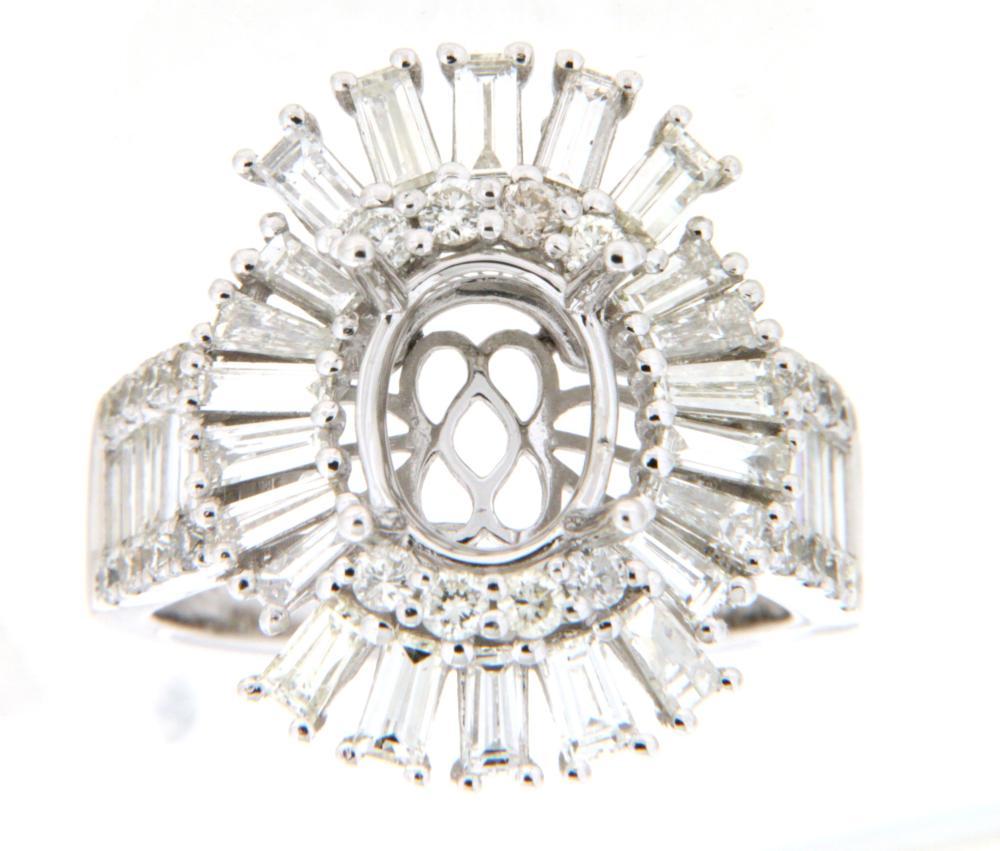 2.65 CTW Diamond Semi Mount Ring 14K White Gold - REF-296K3W