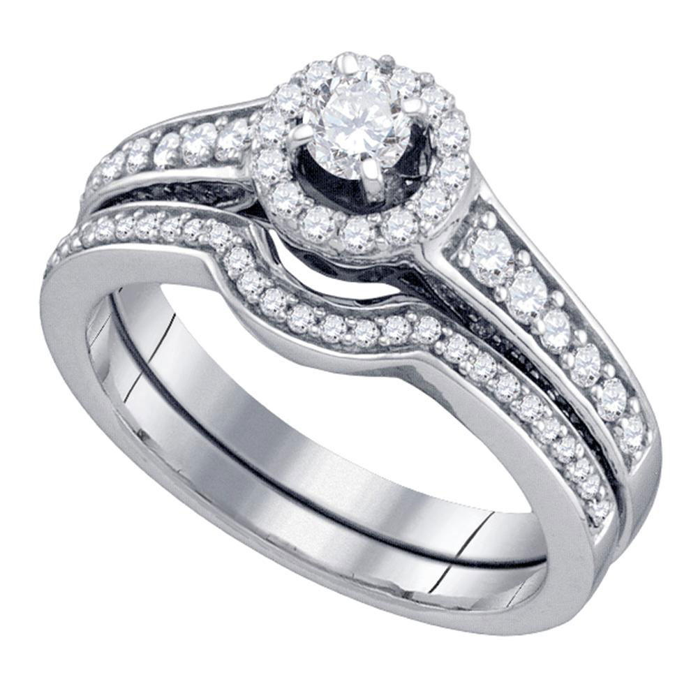 0.75 CTW Diamond Halo Bridal Engagement Ring 14KT White Gold - REF-89K9W