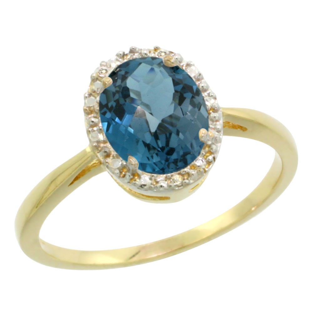 Natural 1.22 ctw London-blue-topaz & Diamond Engagement Ring 14K Yellow Gold - REF-27A3V
