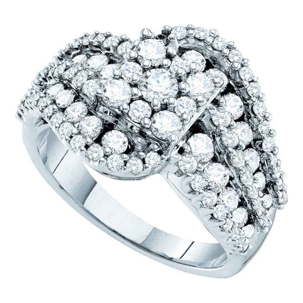 2 CTW Diamond Flower Swirl Cocktail Ring 14KT White Gold - REF-187K4W