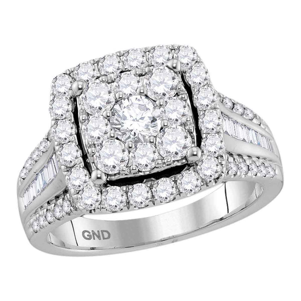 1.59 CTW Diamond Square Cluster Bridal Engagement Ring 10KT White Gold - REF-194F9N