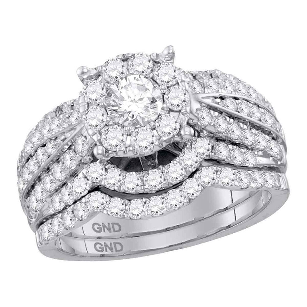 1.78 CTW Diamond Halo Bridal Engagement Ring 14KT White Gold - REF-247W5K