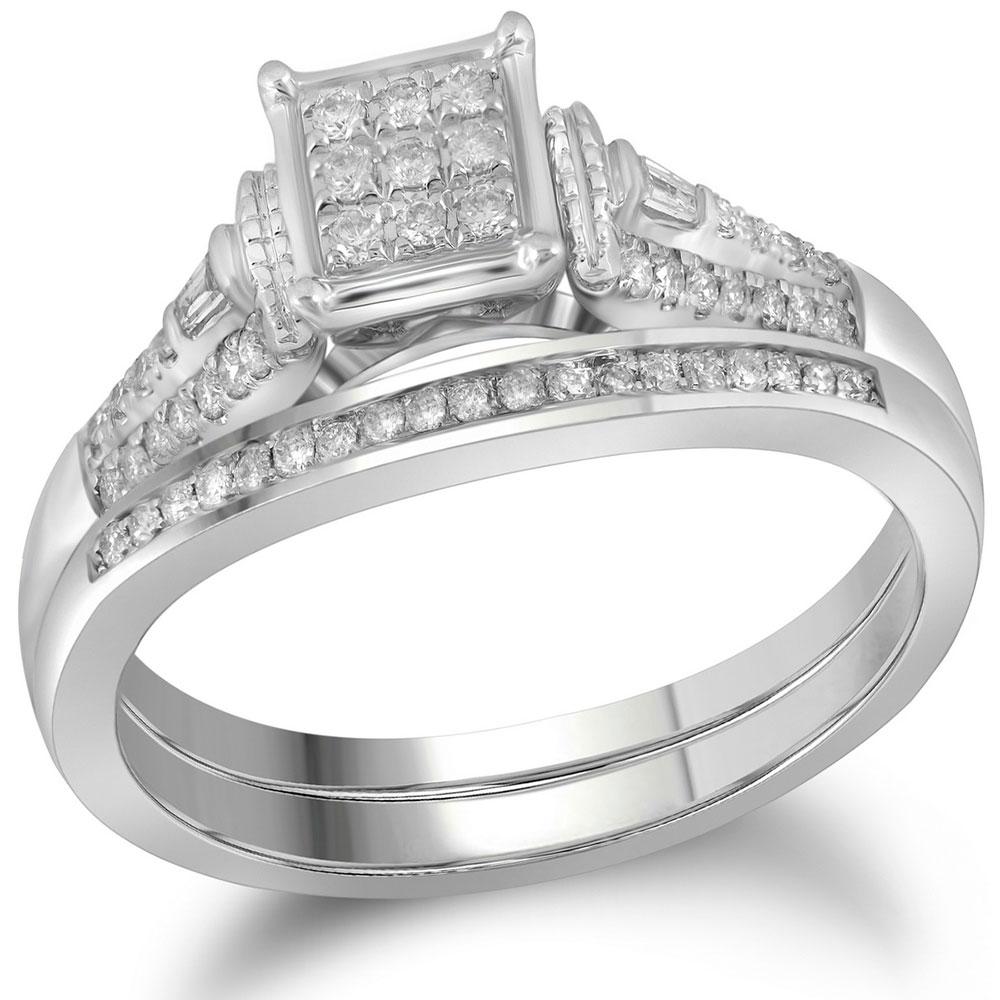 0.21 CTW Diamond Bridal Wedding Engagement Ring 14KT White Gold - REF-44K9W