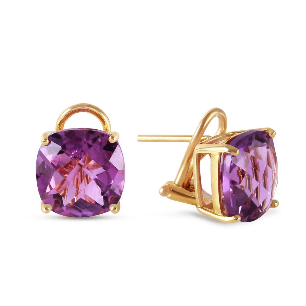 Genuine 7.2 ctw Amethyst Earrings Jewelry 14KT Yellow Gold - REF-46R5P