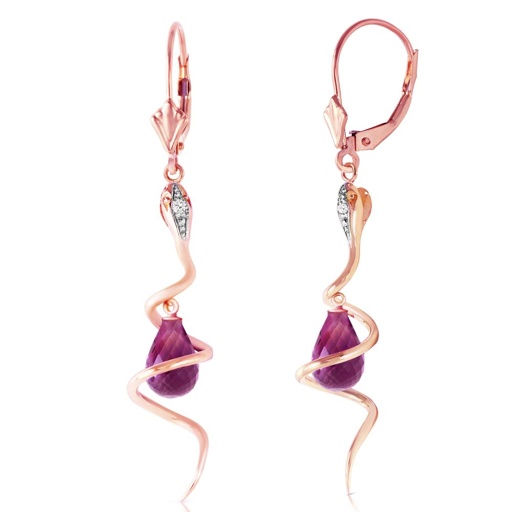Genuine 4.56 ctw Amethyst & Diamond Earrings Jewelry 14KT Rose Gold - REF-91A4K