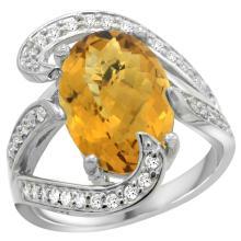 Lot 4095: Natural 6.22 ctw quartz & Diamond Engagement Ring 14K White Gold - REF-129N4G