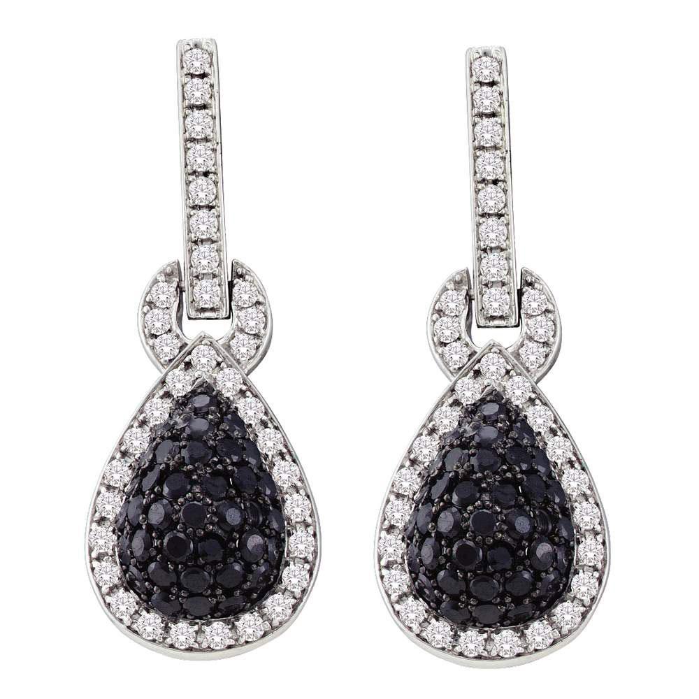 1.8 CTW Black Color Diamond Teardrop Dangle Earrings 10KT White Gold - REF-97X4Y
