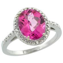 Lot 4102: Natural 2.42 ctw Pink-topaz & Diamond Engagement Ring 14K White Gold - REF-34R7Z