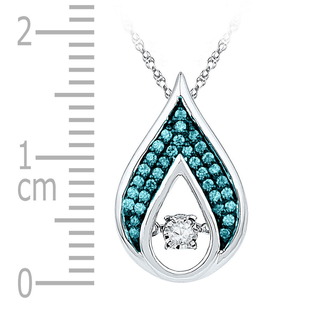 Lot 4112: 0.20 CTW Diamond Solitaire Teardrop Moving Pendant 10KT White Gold - REF-22M4H
