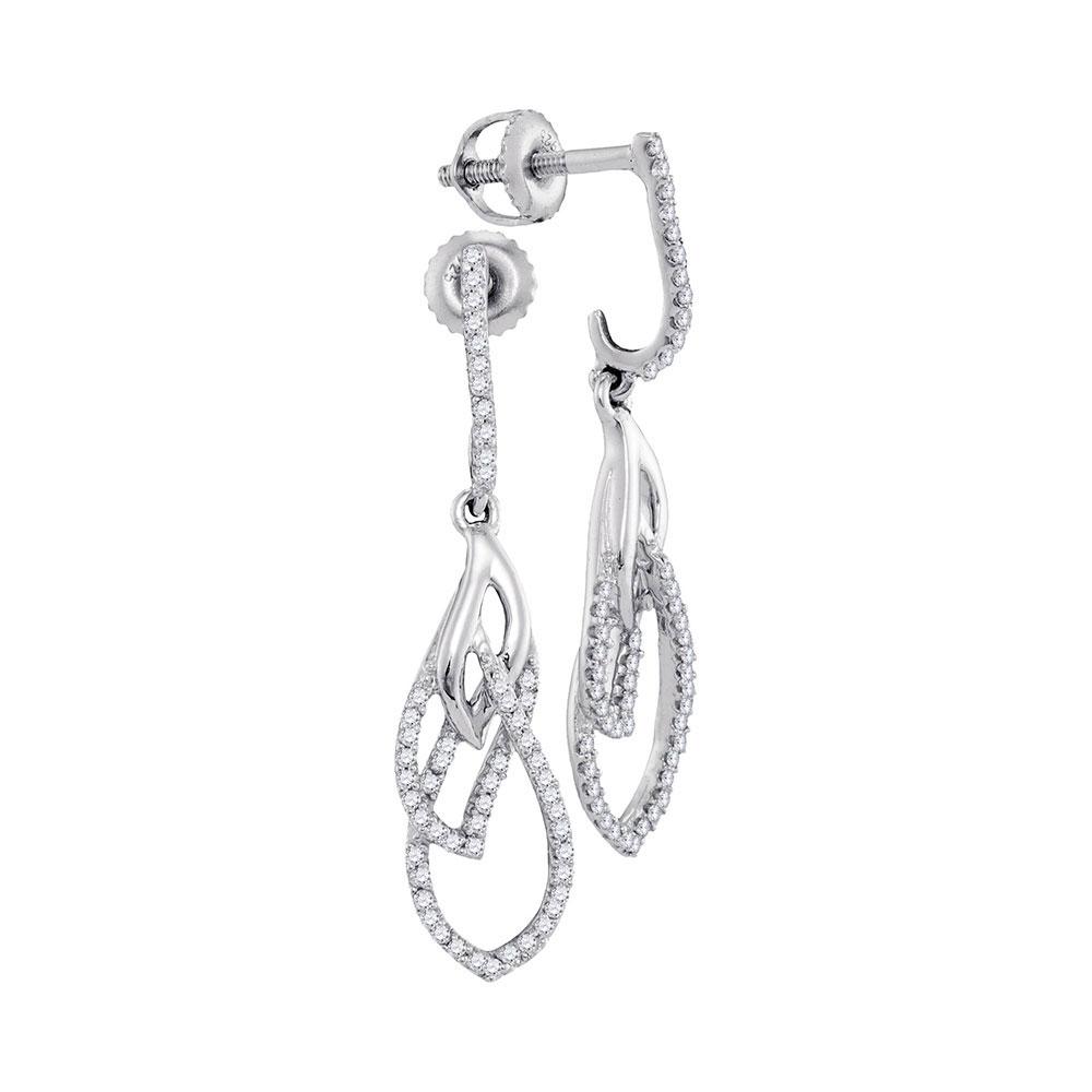 0.25 CTW Diamond Dangle Earrings 10KT White Gold - REF-25N4F
