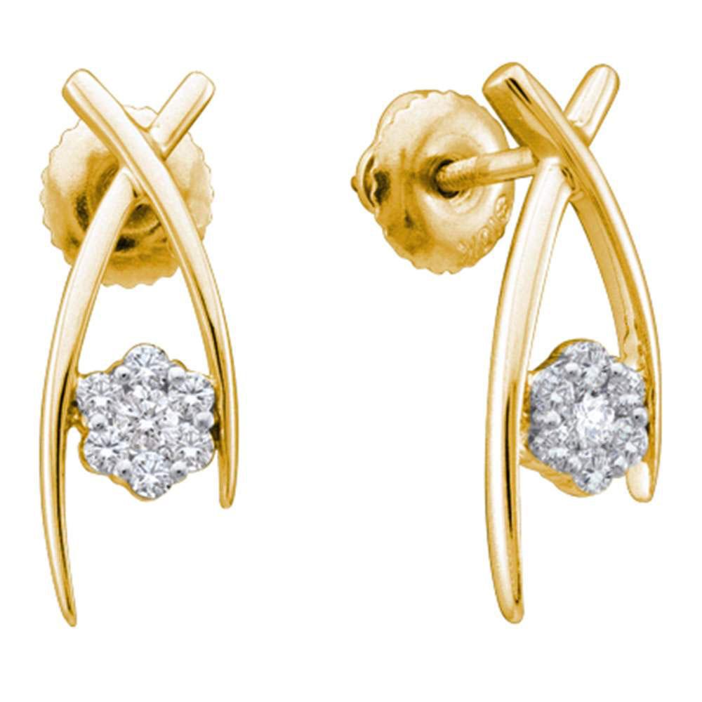 0.24 CTW Diamond Flower Screwback Stud Earrings 10KT Yellow Gold - REF-26N9F