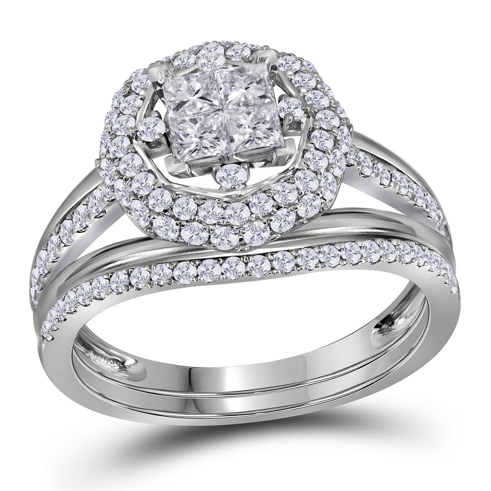 1 CTW Princess Diamond Halo Bridal Engagement Ring 14KT White Gold - REF-97H4M