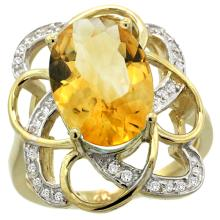Lot 4124: Natural 5.59 ctw citrine & Diamond Engagement Ring 14K Yellow Gold - REF-59K6R