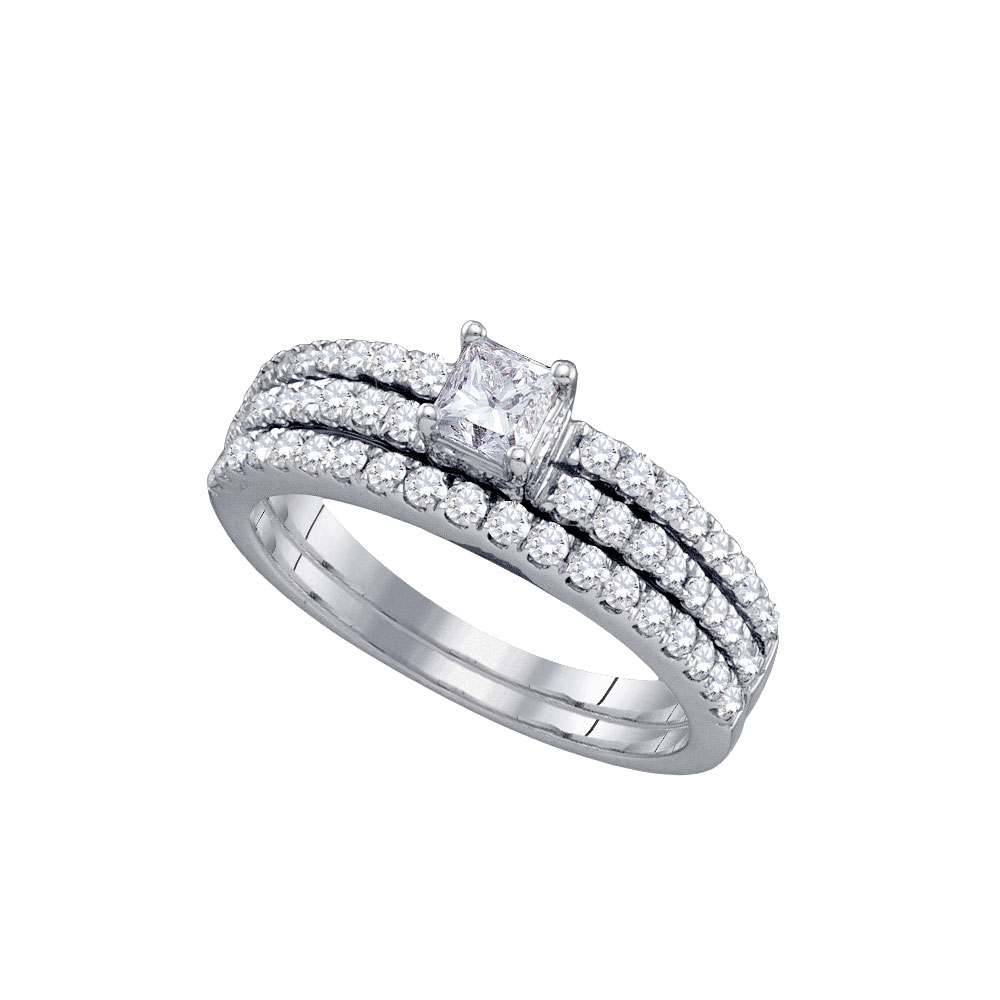 1 CTW Princess Diamond Bridal Engagement Ring 14KT White Gold - REF-127H4M