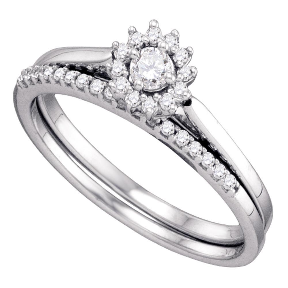 0.24 CTW Diamond Halo Wedding Bridal Ring 10KT White Gold - REF-30N2F