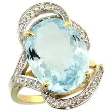 Lot 4139: Natural 11.23 ctw aquamarine & Diamond Engagement Ring 14K Yellow Gold - REF-191H2W