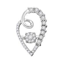 Lot 4144: 0.20 CTW Diamond Cluster Heart Pendant 10KT White Gold - REF-31M4H