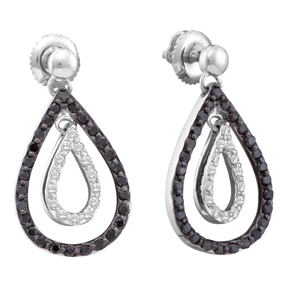 0.80 CTW Black Color Diamond Double Teardrop Dangle Earrings 14KT White Gold - REF-52W4K