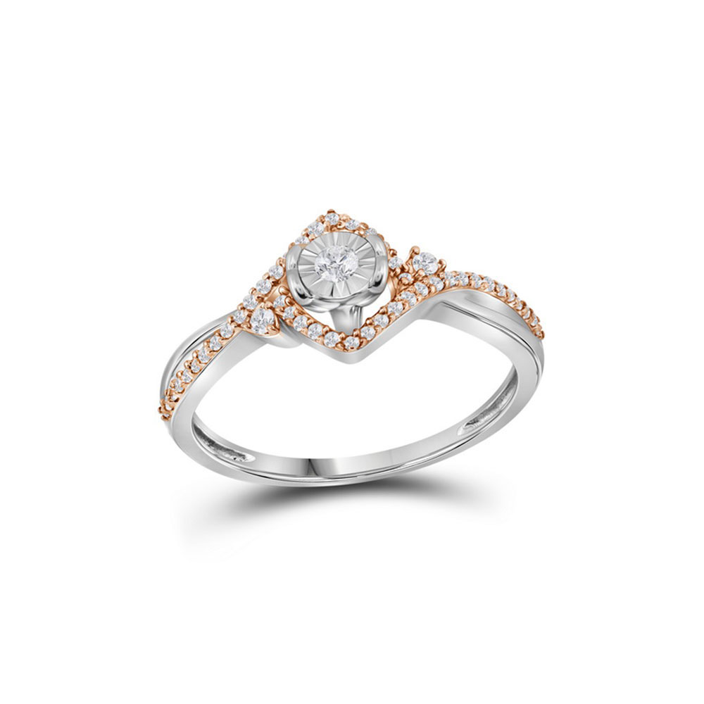 0.20 CTW Diamond Solitaire Rose-Ring 10KT Two-tone Gold - REF-18K7W