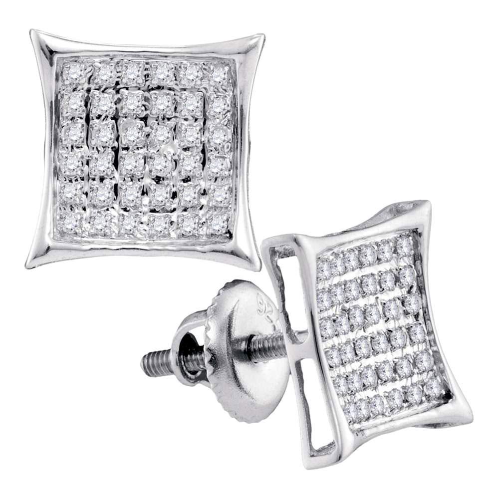 0.23 CTW Diamond Square Cluster Earrings 14KT White Gold - REF-19W4K