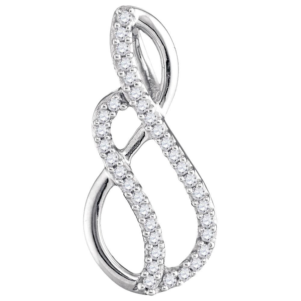 0.10 CTW Diamond Infinity Pendant 10KT White Gold - REF-7K4W