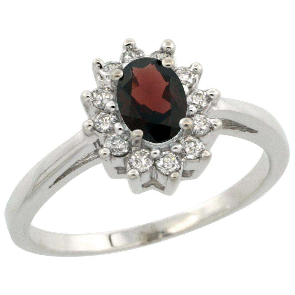 Natural 0.67 ctw Garnet & Diamond Engagement Ring 14K White Gold - REF-48N6G
