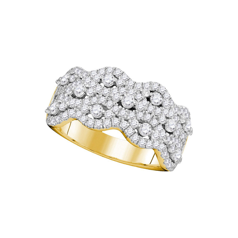 Lot 4170: 1.13 CTW Pave-set Diamond Strand Cocktail Ring 14KT Yellow Gold - REF-104K9W