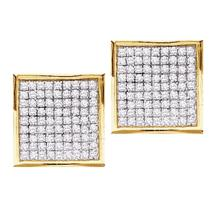 Lot 4173: 0.45 CTW Pave-set Diamond Square Cluster Earrings 10KT Yellow Gold - REF-18Y7X