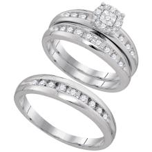 Lot 4174: 0.45 CTW His & Hers Diamond Cluster Matching Bridal Ring 10KT White Gold - REF-49M5H