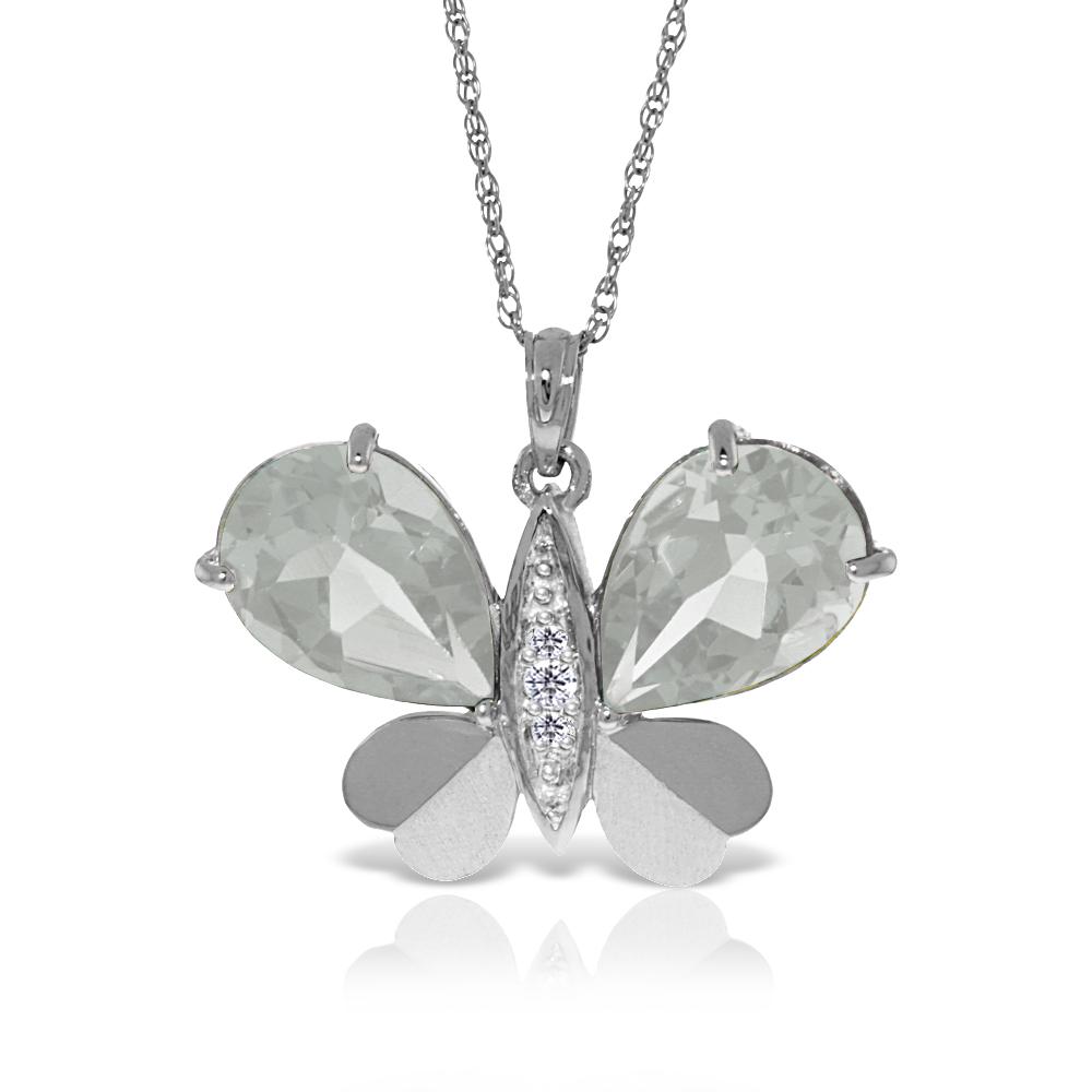 Genuine 11.10 ctw White Topaz & Diamond Necklace Jewelry 14KT White Gold - REF-130N2R