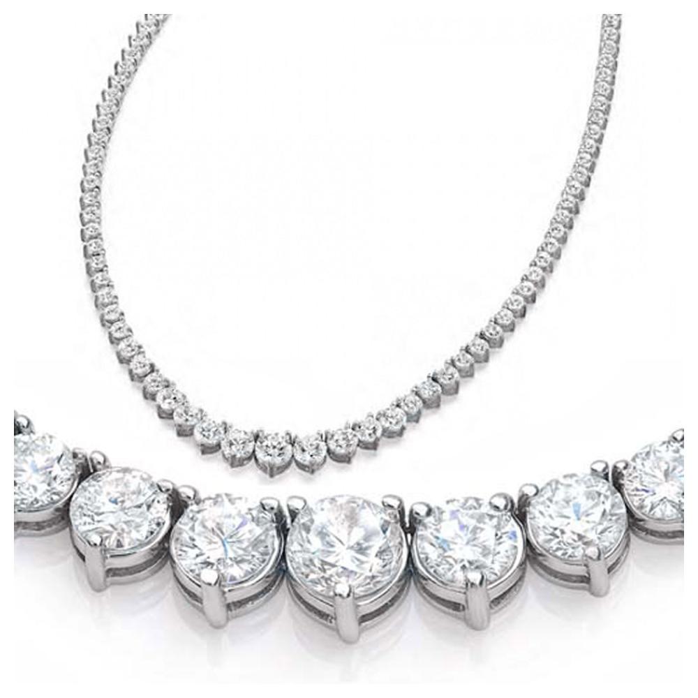 Lot 4187: Natural 11.62CTW VS2/I-J Diamond Tennis Necklace 18K White Gold - REF-1217X8R