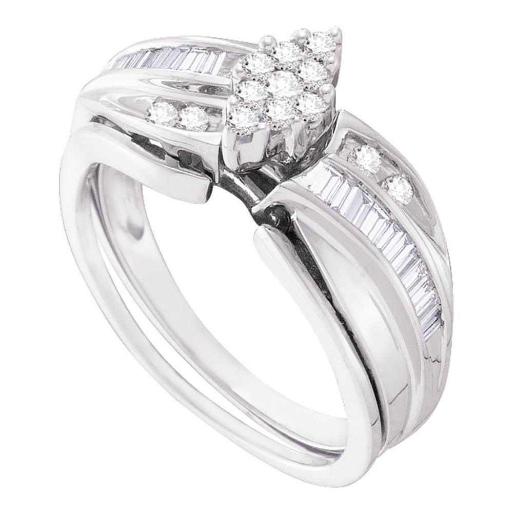 0.40 CTW Diamond Cluster Bridal Engagement Ring 10KT White Gold - REF-44W9K