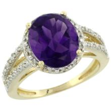Lot 4198: Natural 3.47 ctw Amethyst & Diamond Engagement Ring 14K Yellow Gold - REF-46K3R
