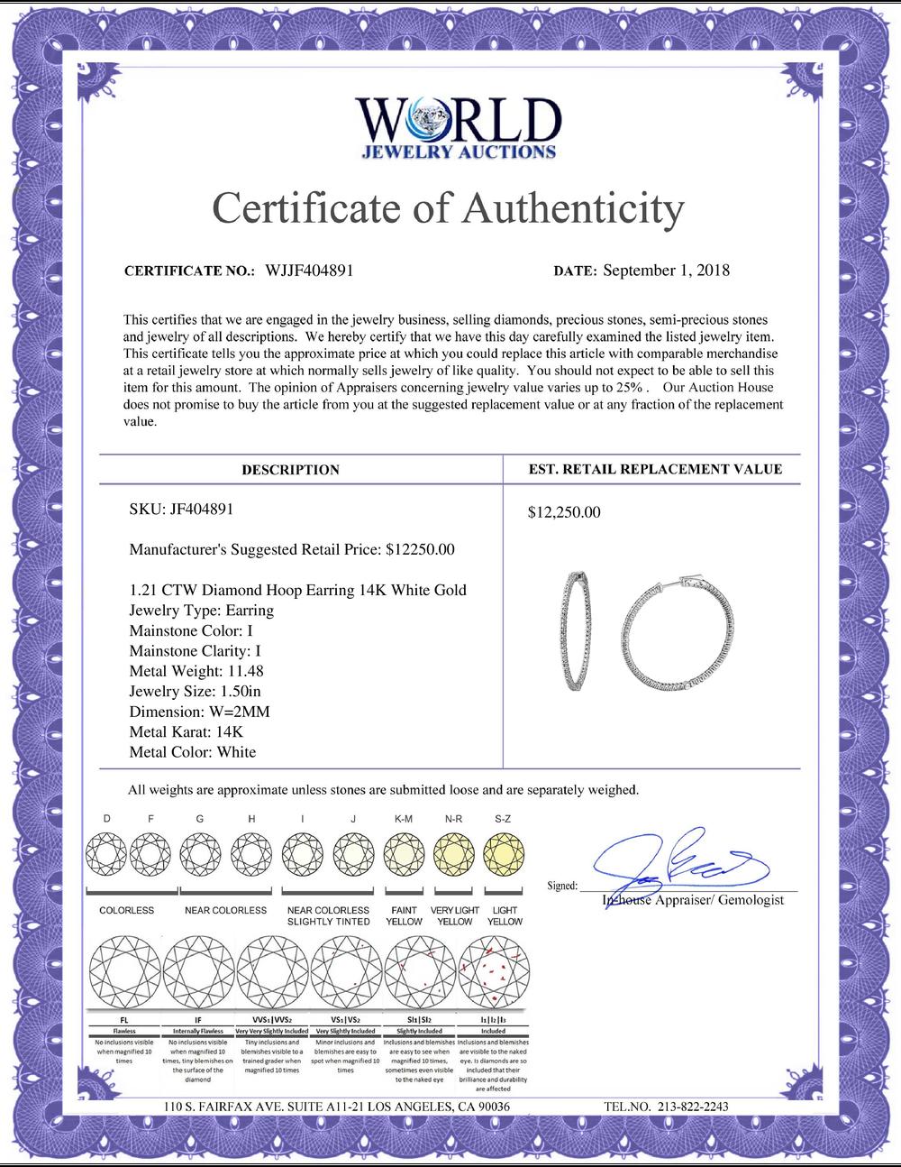Lot 4006: 1.21 CTW Diamond Earrings 14K White Gold - REF-160K7W