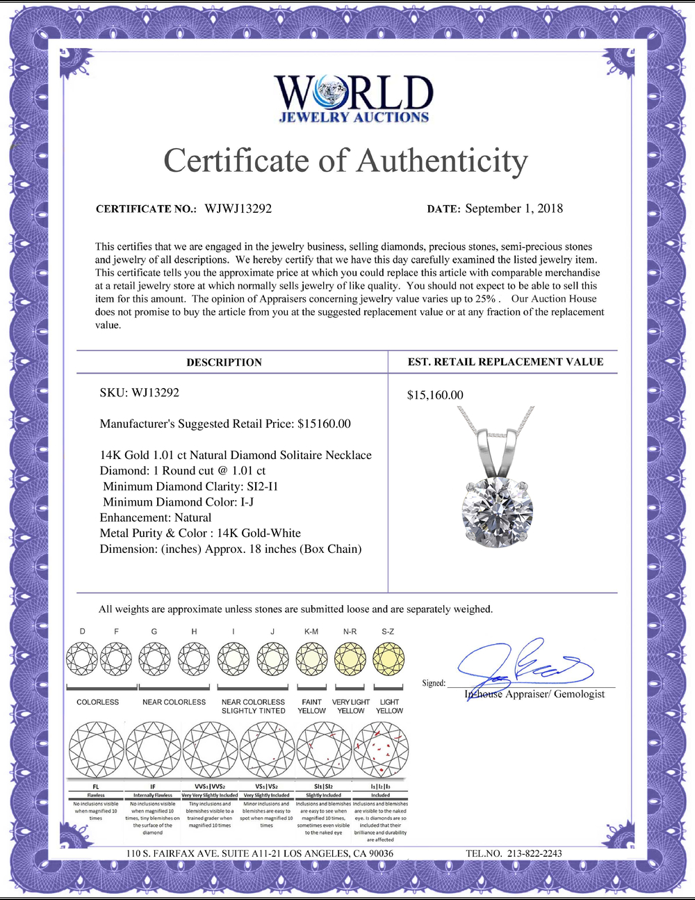 Lot 4007: 14K White Gold 1.01 ct Natural Diamond Solitaire Necklace - REF-286K8Y-WJ13292