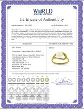 Lot 4009: Genuine 2.02 ctw Pearl & Diamond Ring Jewelry 14KT Yellow Gold - REF-27Y2F