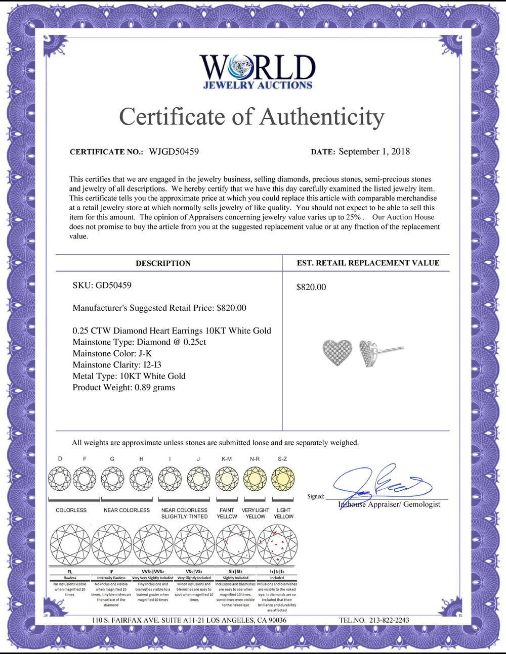 Lot 4015: 0.25 CTW Diamond Heart Earrings 10KT White Gold - REF-20H9M