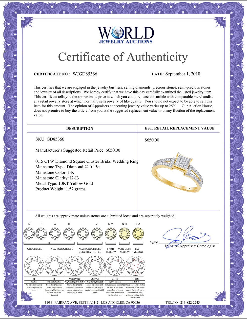 Lot 4041: 0.15 CTW Diamond Square Cluster Bridal Wedding Engagement Ring 10KT Yellow Gold - REF-16N4F
