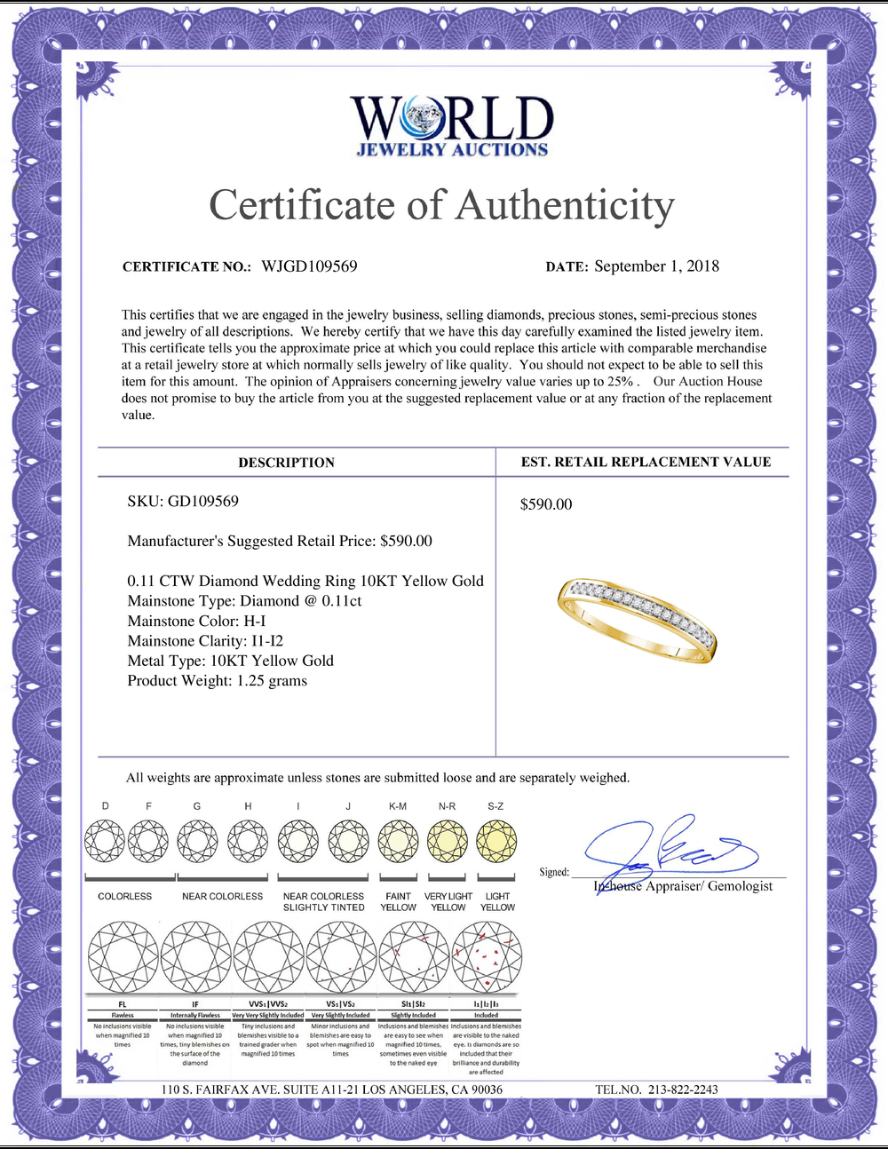Lot 4049: 0.11 CTW Diamond Wedding Ring 10KT Yellow Gold - REF-14K9W