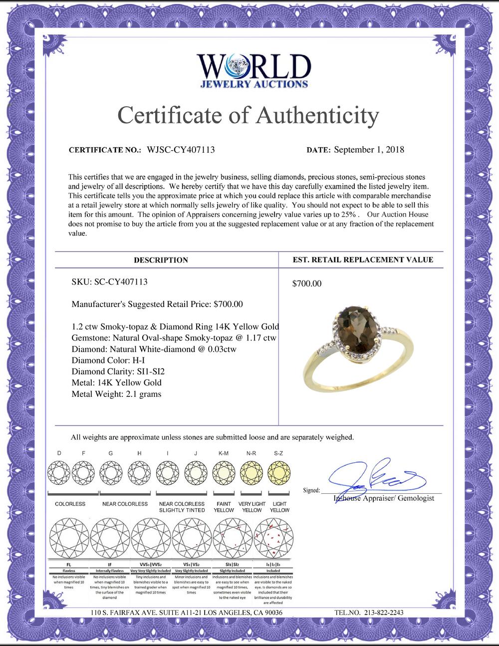 Lot 4051: Natural 1.2 ctw Smoky-topaz & Diamond Engagement Ring 14K Yellow Gold - REF-23F2N