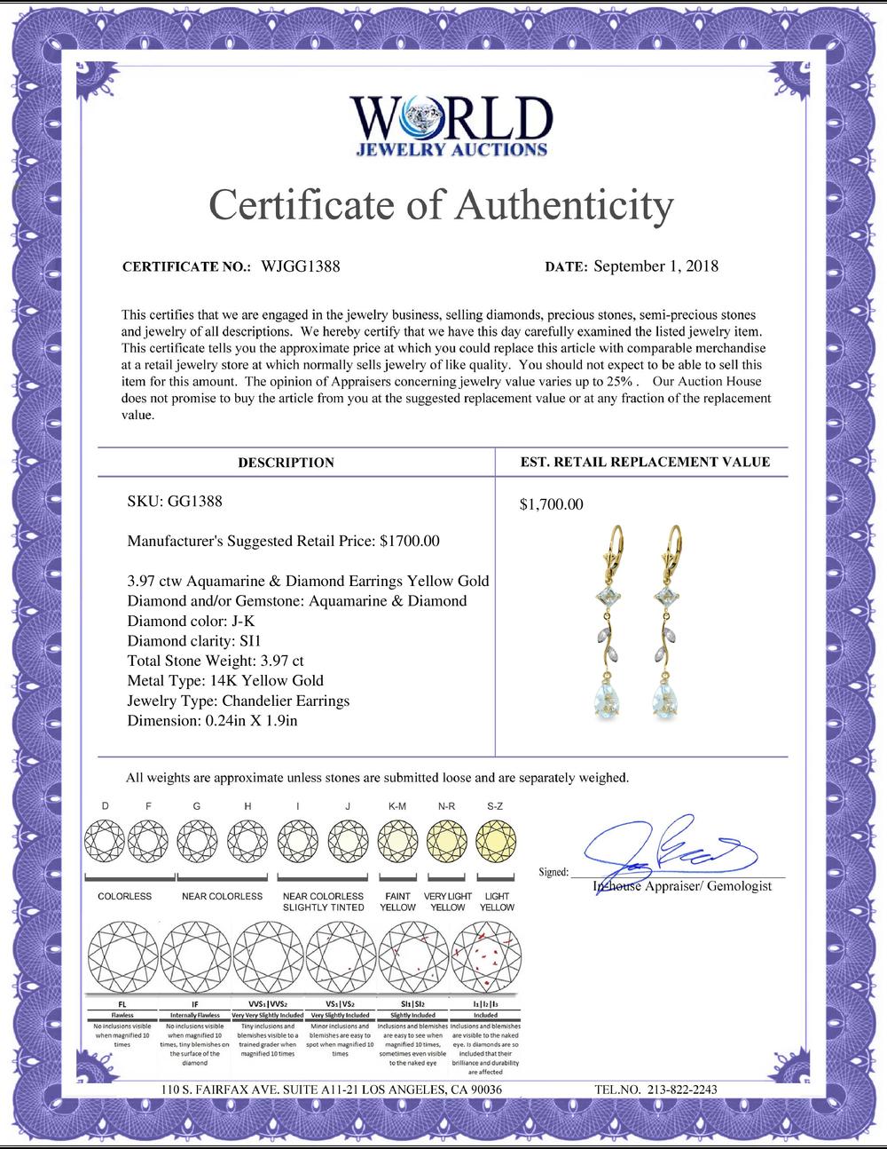 Lot 4054: Genuine 3.97 ctw Aquamarine & Diamond Earrings Jewelry 14KT White Gold - REF-56M4T