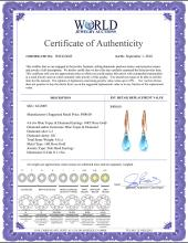 Lot 4057: Genuine 4.6 ctw Blue Topaz & Diamond Earrings Jewelry 14KT White Gold - REF-28X8M